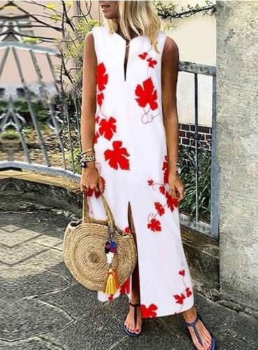 Fashion Casual Print V neck Vent Sleeveless Maxi Dresses