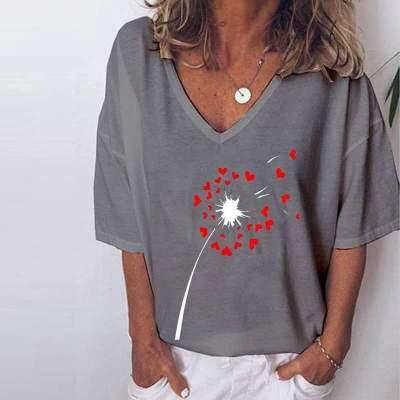 Casual Loose Dandelion print V neck Short sleeve T-Shirts