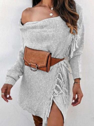 Fashion Pure One shoulder Knit Long sleeve Macrame Sweaters