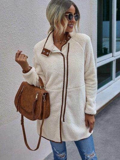 Fashion Plush Stand collar Long sleeve Zipper Coats
