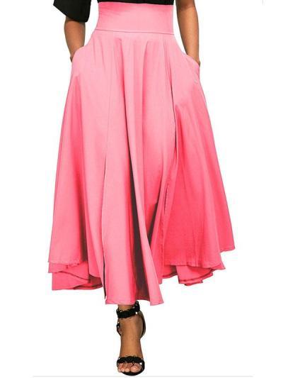 Plain Bowknot Zipper Long Skirt