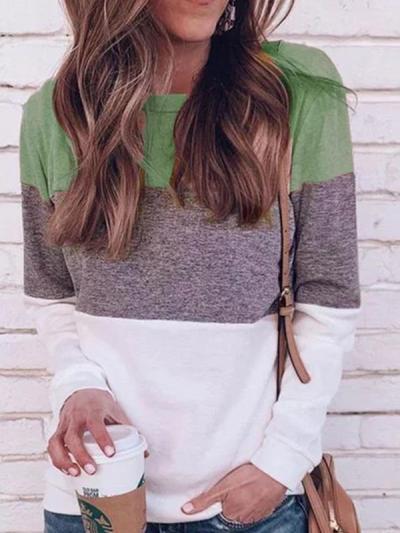 Women Multicolor round neck basic daily long sleeve T-shirts