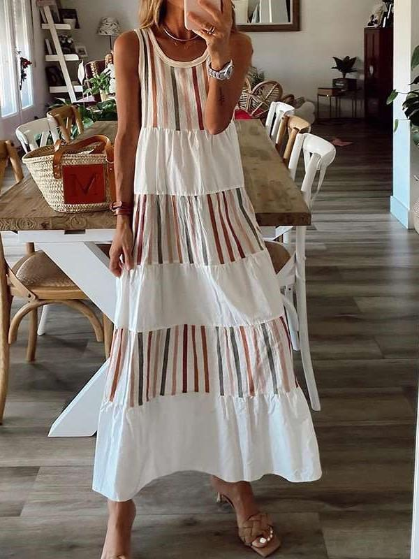 Fashion Casual Stripe print Round neck Sleeveless Vest Maxi Dresses