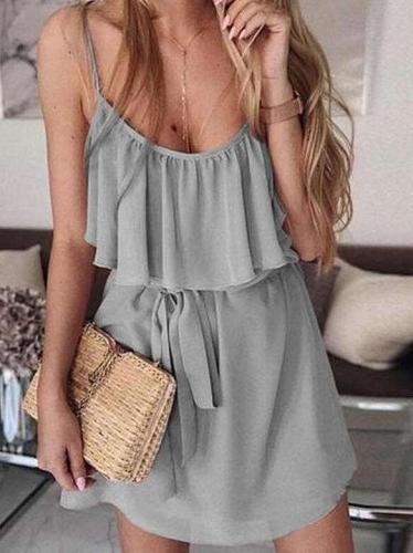 Casual Pure Vest Lacing Falbala Shift Dresses