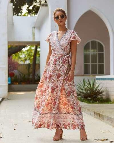 Fashion Sexy Print V neck Lacing Maxi Dresses