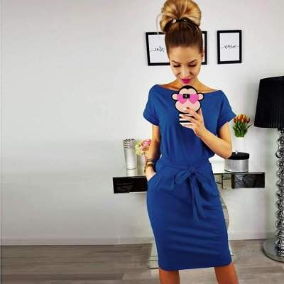 Fashion Round neck Lacing Pocket Skater Dresses