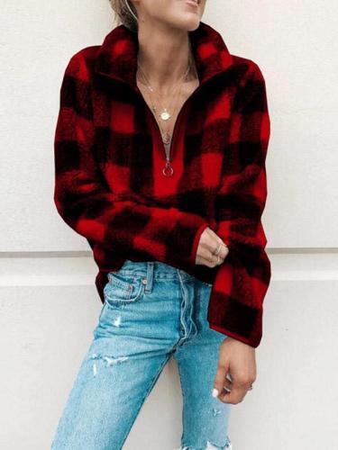 Fashion Grid Zip Stand-up Collar Sweatshirts