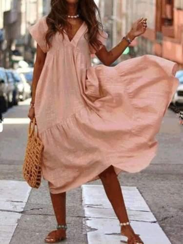 Loose V neck Gored Pure Maxi Dresses