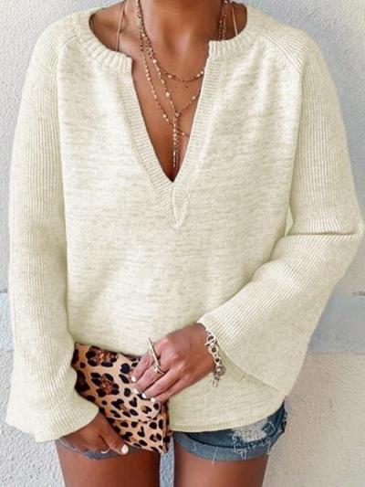 Fashion V neck Knit  Mandarin sleeve Sweaters