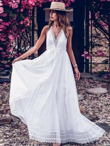 Fashion Sexy Elegant Pure V neck Lace Sleeveless Backless Maxi Dresses