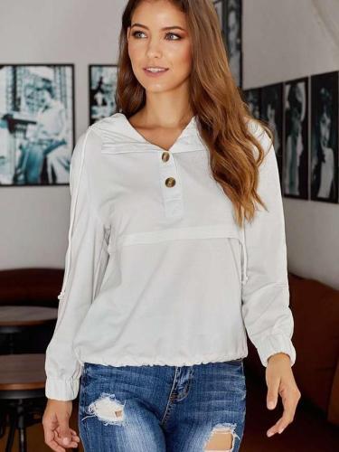 Loose Pure Fastener Long sleeve Hoodies & Sweatshirts