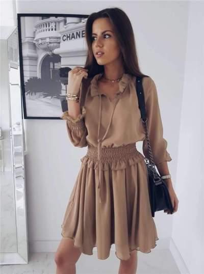 Fashion Lapel Pure Long sleeve Skater Dresses