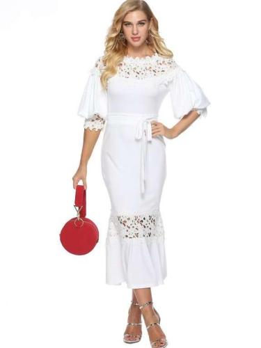 Sexy Lace Hollow out Gored Round neck Half sleeve Maxi Dresses