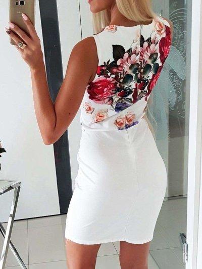 Sexy V neck Print Bodycon Dresses