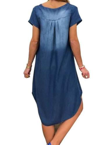 Casual denim v neck short sleeve shift dresses