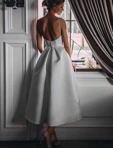 Sexy Pure Vest Backless Skater Evening Dresses