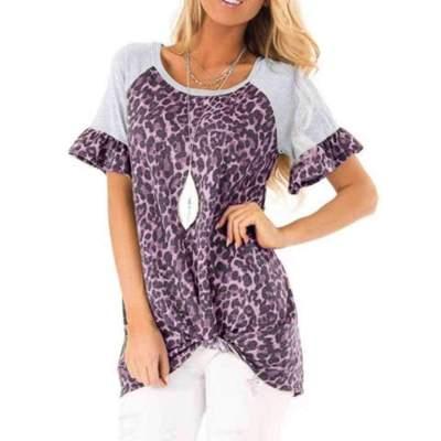 Casual Print Gored Round neck Short sleeve Falbala T-Shirts