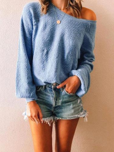 Temperament Plush Solid Color Sweater