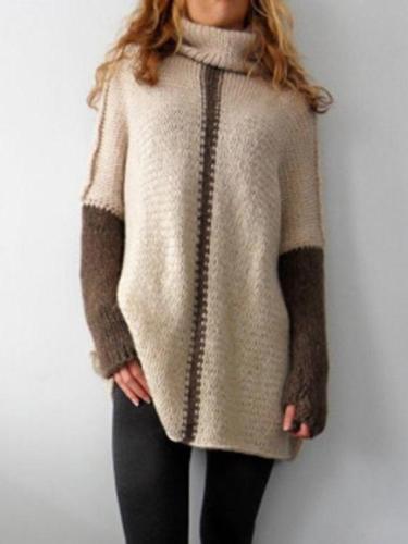 Women High collar Loose Knit Sweaters