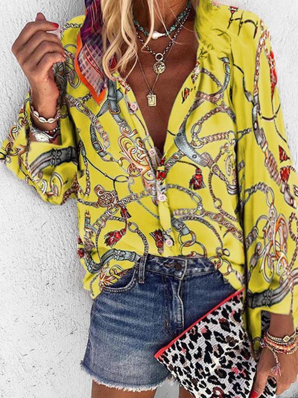 Fashion Turn Down Neck Women long sleeve printed blouses