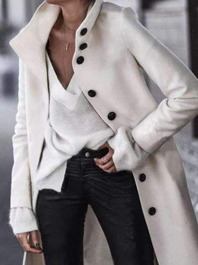 Fashion Fold Over Collar Single Breasted Plain Outerwear Coats