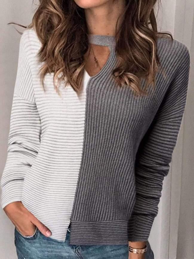 Fashion V neck Long sleeve Bedford cord T-Shirts