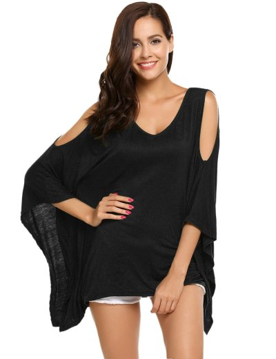 Pure Off shoulder V neck Batwing sleeve T-Shirts