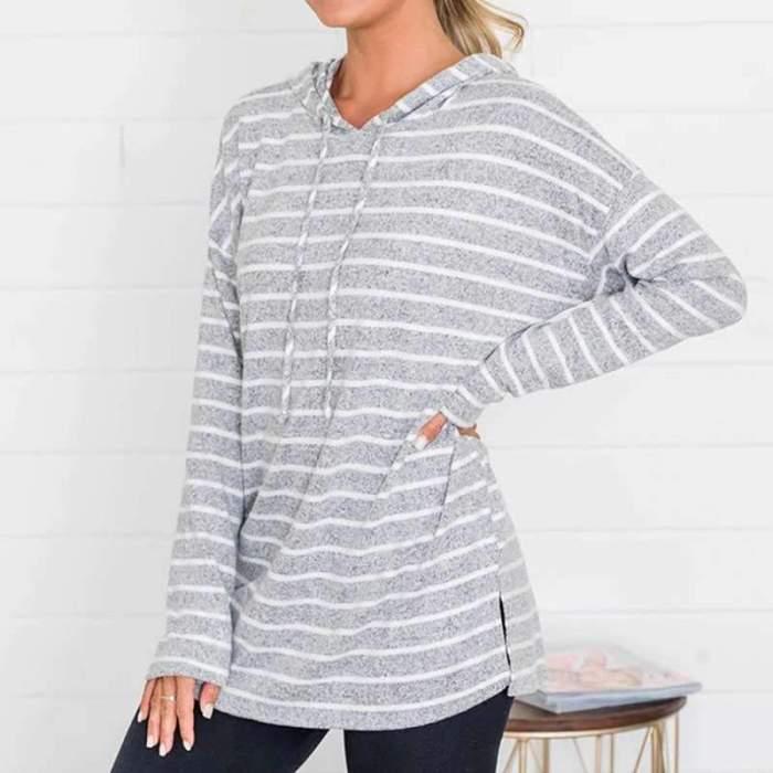 Fashion Stripe print Long sleeve Hoodies Sweatshirts