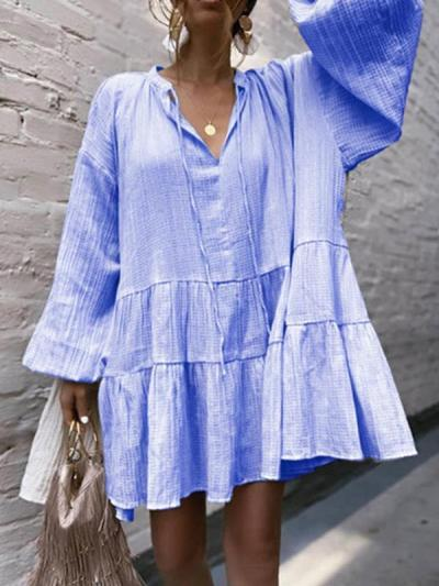 Women Casual Fashion Loose V neck Tie Long Sleeve Shift Dresses