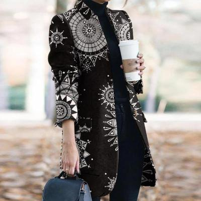 Fashion Pocket Floral Printed Pattern Women Coats
