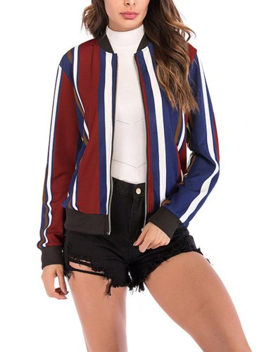 Fashion Woman Autumn Vertical Stripes Jackets