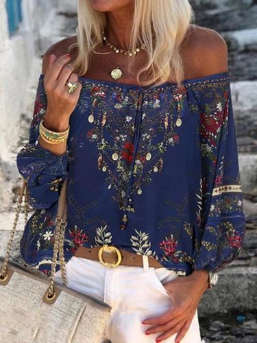 Fashion print off shoulder chiffon blouses