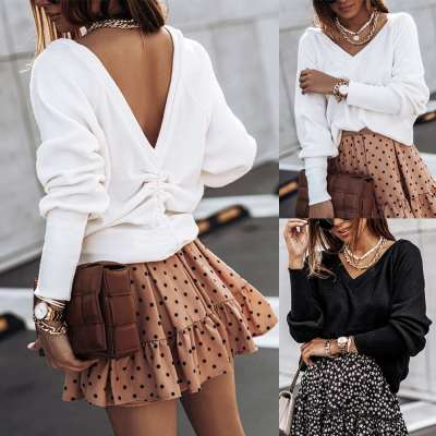 Fashion Casual Loose Pure V neck Long sleeve Backless Sweaters