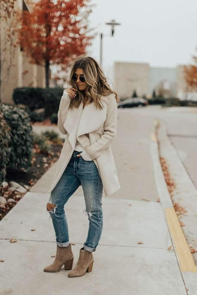 Fashion Gored Plush Lapel Coats