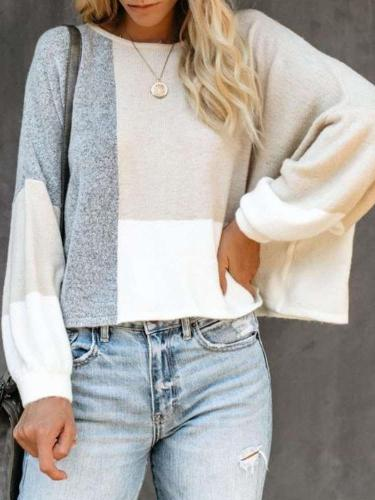 Fashion Loose Puff sleeve Gored Round neck Sweaters