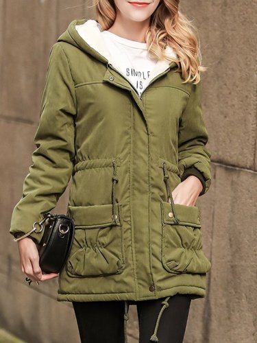 Thick Fleece-lined Long Hoodie Coat