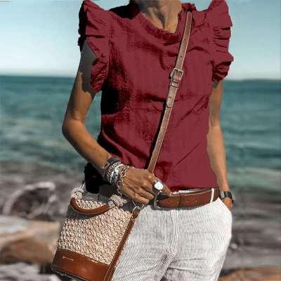 Fashion Casual Pure Stand collar Falbala Blouses
