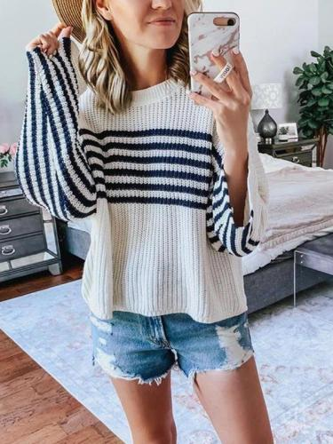 Women loose stripe knit long sleeve sweaters