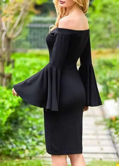 Fashion Off shoulder Mandarin sleeve Bodycon Dresses