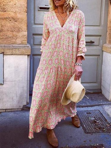V neck long sleeve printed maxi dresses