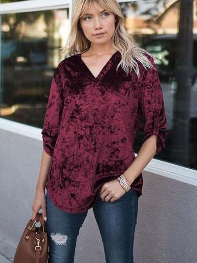 Casual Loose V neck Long sleeve Pleuche T-Shirts