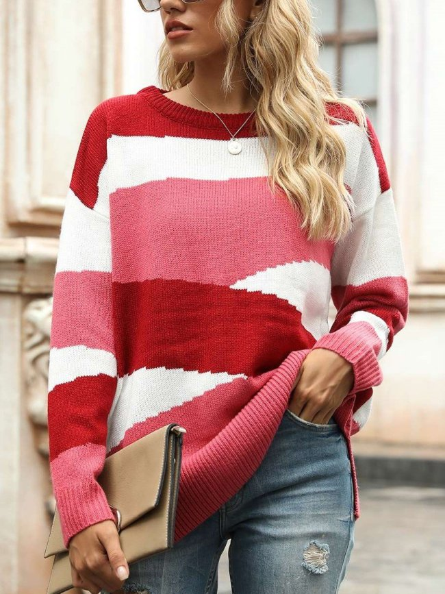 Fashion Casual Loose Stripe Round neck Long sleeve Knit Sweaters