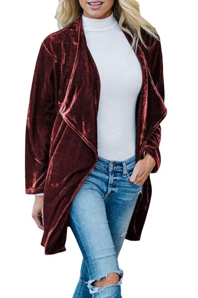 Fashion Pure Pleuche Lapel Trench Coats