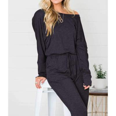 Fashion Loose Off shoulder Lacing Long sleeve Jumpsuits