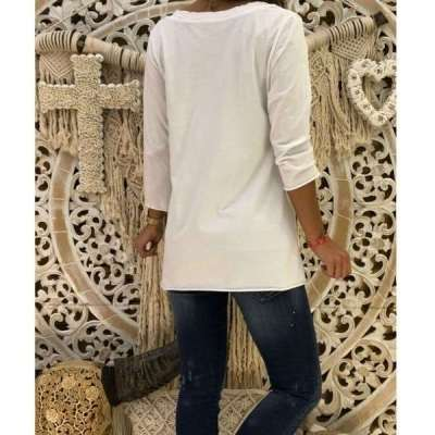 Fashion Casual Print V neck Long sleeve T-Shirts