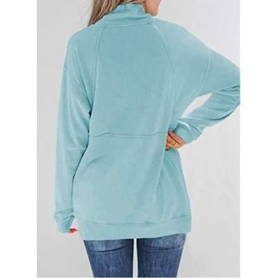Fashion Casual Pure High collar Long sleeve Zipper Sweatshirts