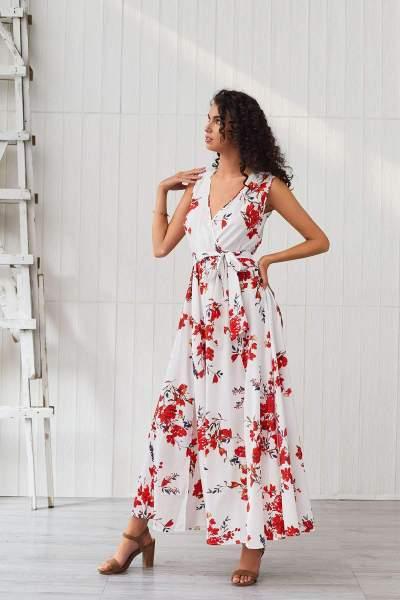 Fashion Print V neck Sleeveless Maxi Dresses