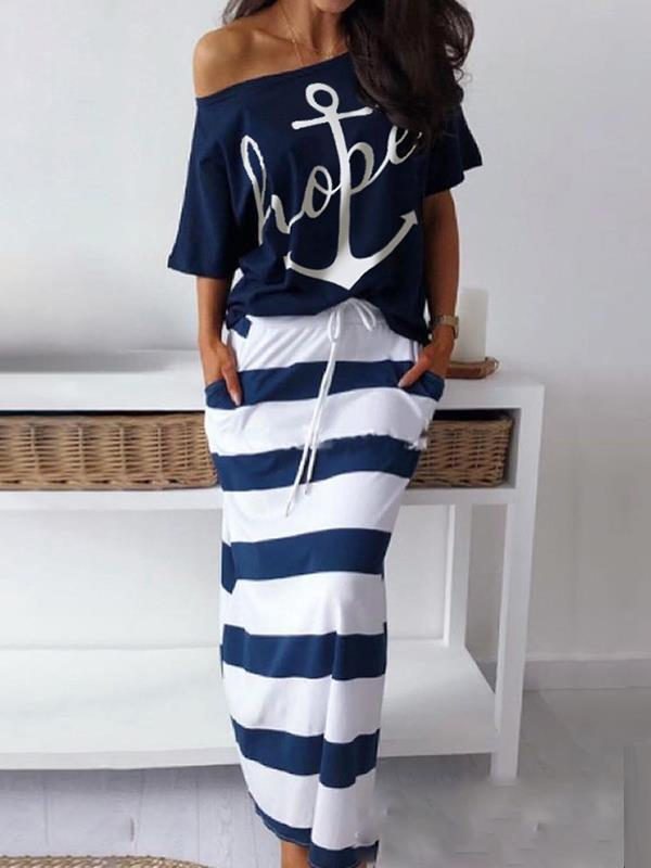Women printed one off shoulder maxi dress suits