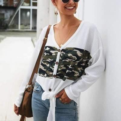 Fashion V neck Long sleeve Knit Sweaters