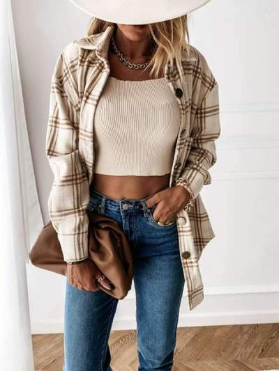 Loose plaid turn down long sleeves blouses for women